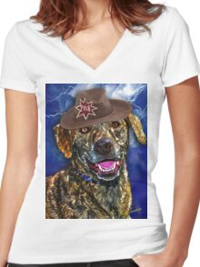 A Canine Community Reporter Fine Art Creation Women's Fitted V-Neck T-Shirt