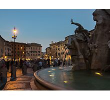 Evening On Piazza Navona Rome Italy - Fountain Of The Four Rivers Photographic Print