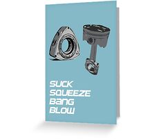 Mazda RX7 Rotary Piston Suck Squeeze Bang Blow Greeting Card