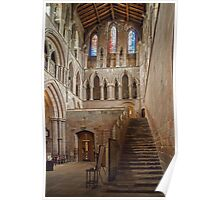 Stone stairs inside Hexham Abbey Poster