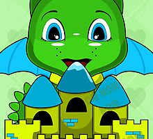 Chibi Dragon With A Blue And Yellow Castle by mydeas