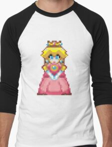 Pixel Peach 32-bit Men's Baseball ¾ T-Shirt