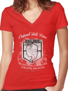 Defend Wall Rose! Women's Fitted V-Neck T-Shirt