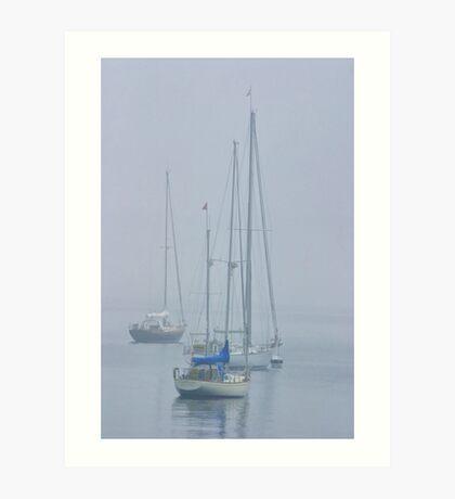 Three sailboats harbored in the mist Art Print
