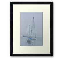 Three sailboats harbored in the mist Framed Print