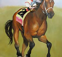 Big Brown Race Horse by Charlotte Yealey