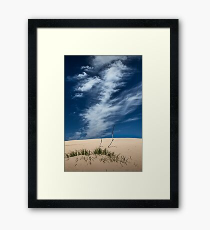 Silver Lake Dune with Grass, Dead Trees and Cirrus Clouds Framed Print