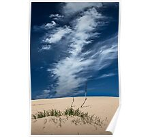 Silver Lake Dune with Grass, Dead Trees and Cirrus Clouds Poster