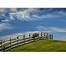 Wooden Farm Fence at the top of the Hill Photographic Print