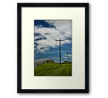Power Lines and Poles along a Wooden Farm Fence Framed Print