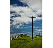 Power Lines and Poles along a Wooden Farm Fence Photographic Print
