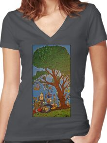 Picnic under Tree Women's Fitted V-Neck T-Shirt