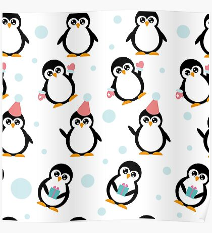 Pattern with penguins Poster