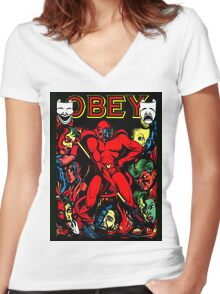 Obey Women's Fitted V-Neck T-Shirt