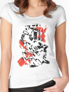 Black and Red Women's Fitted Scoop T-Shirt