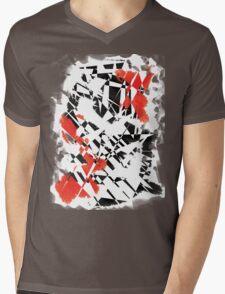 Black and Red Mens V-Neck T-Shirt
