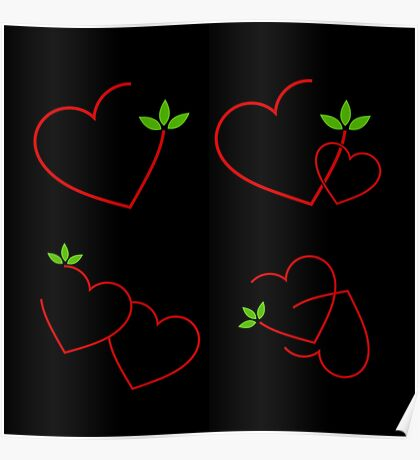 red hearts and green leaves Poster