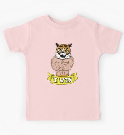 I win - says Tiger Man with wonderfully burly forearms Kids Tee