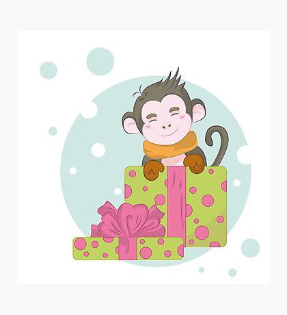 Merry Christmas monkey Photographic Print