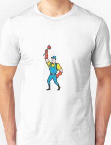 Super Plumber Wielding Plunger Cartoon T-Shirt