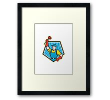 Super Plumber Wielding Plunger Pentagon Cartoon Framed Print