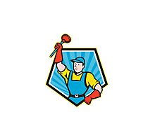 Super Plumber Wielding Plunger Pentagon Cartoon Photographic Print