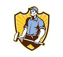 Worker Wielding Sledgehammer Crest Retro by patrimonio