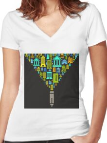 Pencil the house Women's Fitted V-Neck T-Shirt