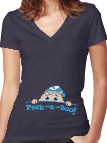 Peek a Boo Winter Women's Fitted V-Neck T-Shirt