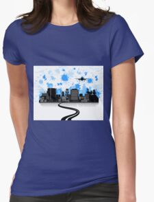 Road to a city Womens Fitted T-Shirt