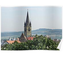 Cathedral Bell Tower in Sibiu, Transylvania Poster