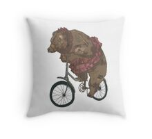 Bear on a Bicycle Throw Pillow