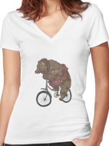 Bear on a Bicycle Women's Fitted V-Neck T-Shirt