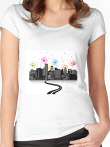 Road to a city2 Women's Fitted Scoop T-Shirt