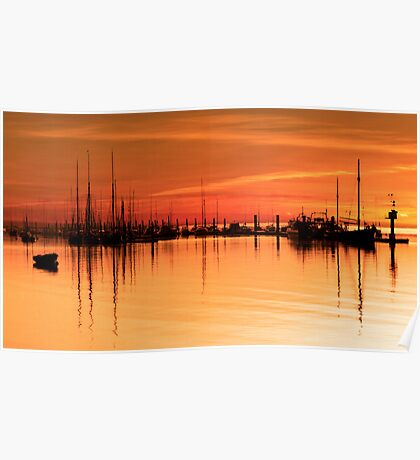 Tall Ships At Dawn Poster