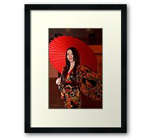 All dressed up in a Kimono and Red Parasol at Hyper Japan Earls Court Framed Print