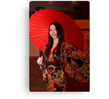 All dressed up in a Kimono and Red Parasol at Hyper Japan Earls Court Canvas Print