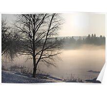 Winter. Cold. Frosen river. Evening sun. Elverum, Norway. Poster
