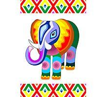 Elephant Rainbow Colors Patchwork Photographic Print