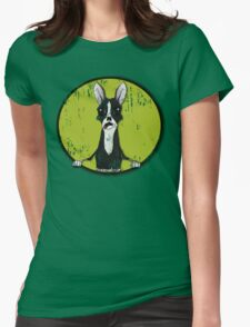 Boston Terrier Retro Pop Out Womens Fitted T-Shirt