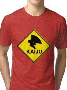 "Kaiju ""Giant Monster"" Warning Tri-blend T-Shirt"