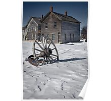 Wagon wheel in winter at the mining ghost town at Fayette Poster