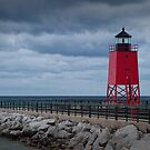 Charlevoix Lighthouse in Charlevoix Michigan by Randall Nyhof