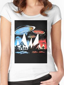 Earth Vs The Flying Saucers Women's Fitted Scoop T-Shirt