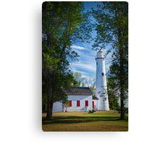 Sturgeon Point Michigan Lighthouse seen through the trees Canvas Print