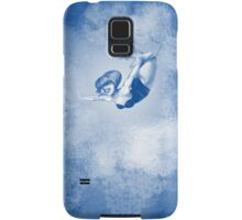 drawing of young woman (girl) flying on a trapeze up the cloud Samsung Galaxy Case/Skin