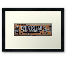 Walker between pit bulls Framed Print