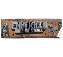 Walker between pit bulls Poster