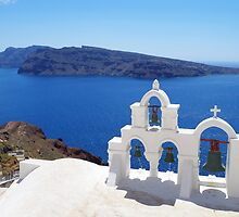 Church bells in Santorini by Dinorah Imrie