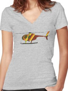 Hughes 500D Helicopter Women's Fitted V-Neck T-Shirt